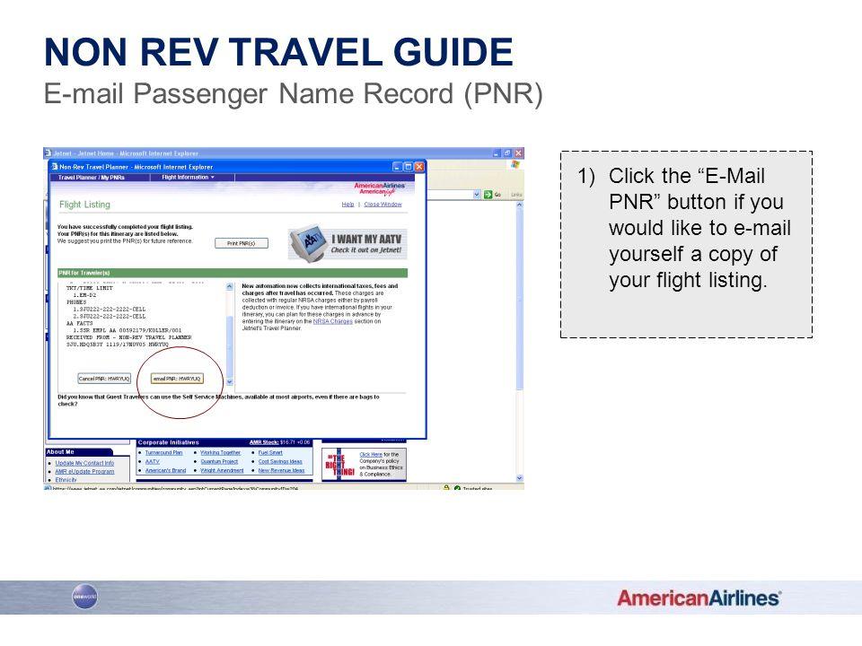 E-mail Passenger Name Record (PNR)