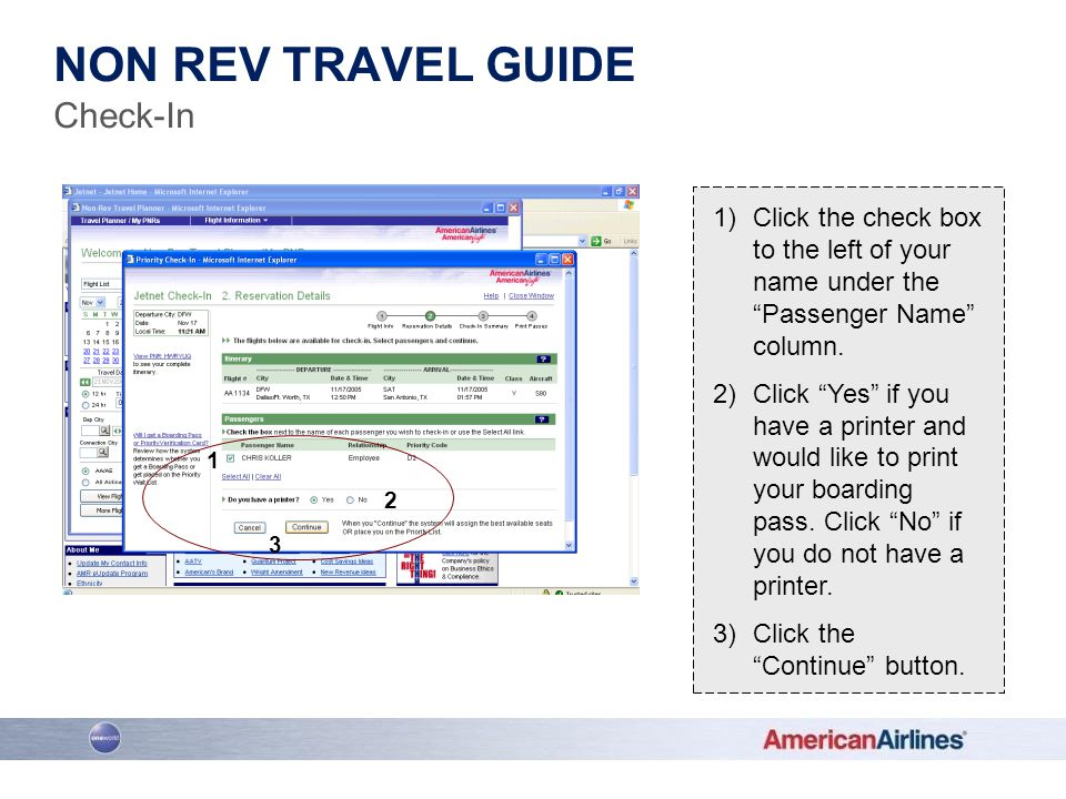 Non rev travel guide Check-In