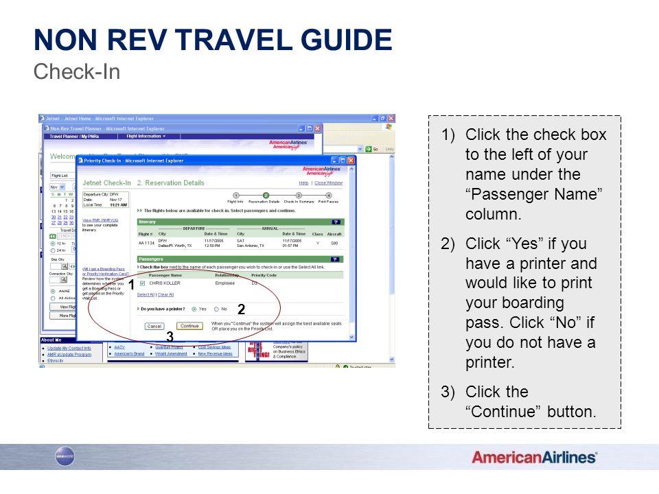 Non rev travel guide Check-In