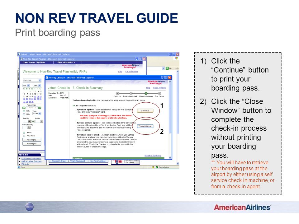 Non rev travel guide Print boarding pass