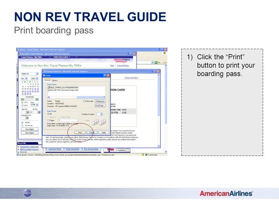 Non rev travel guide Print boarding pass