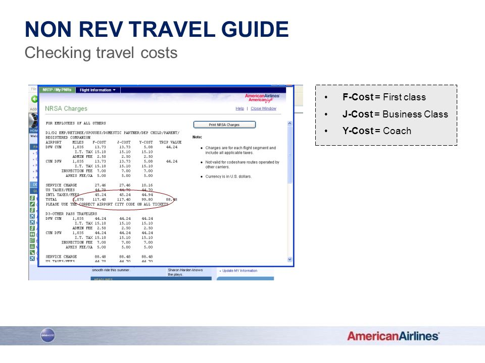 Non rev travel guide Checking travel costs F-Cost = First class