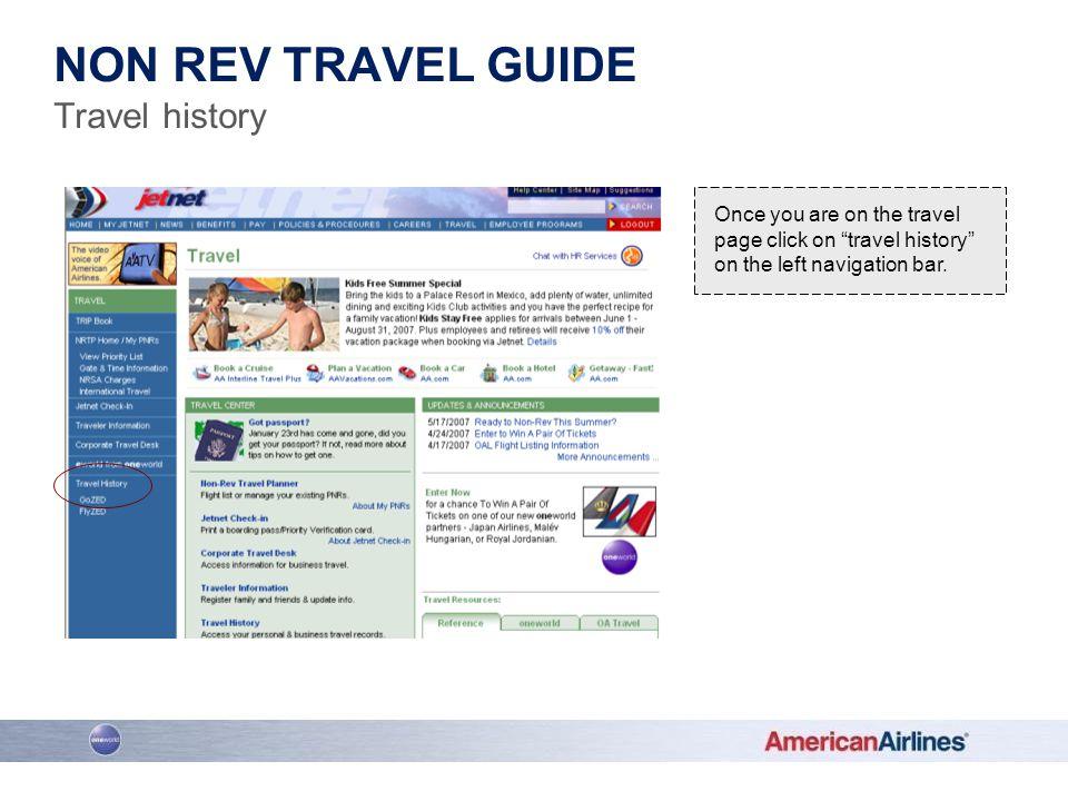 Non rev travel guide Travel history