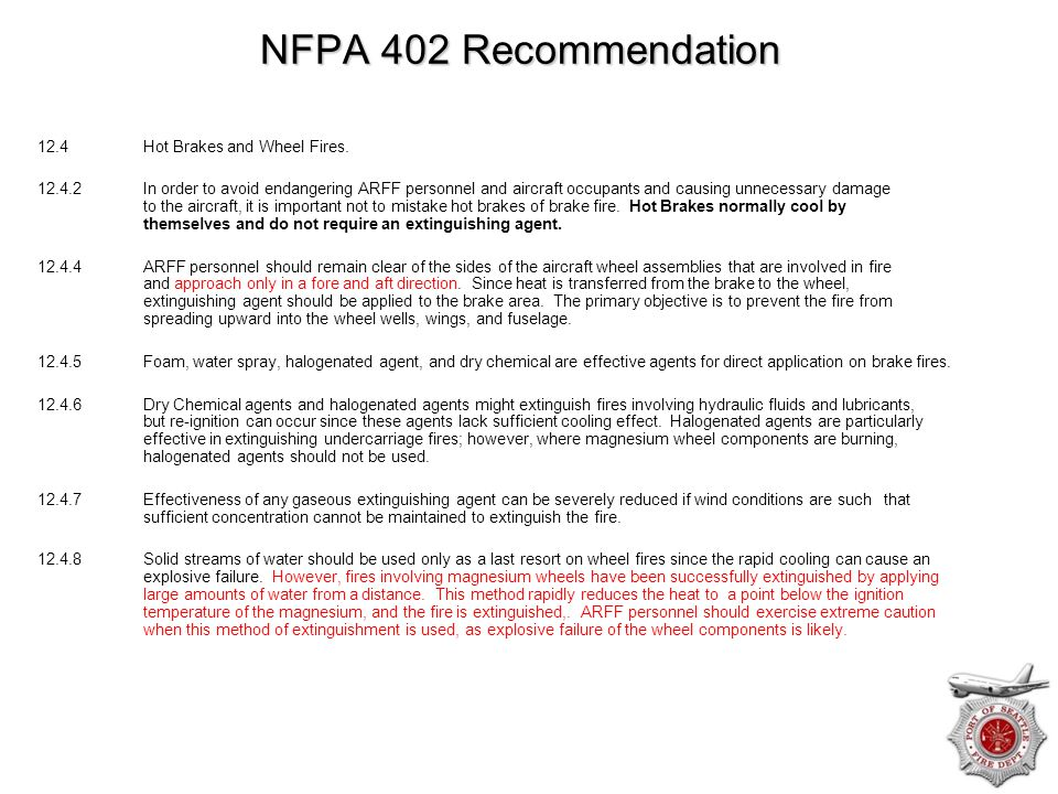 NFPA 402 Recommendation