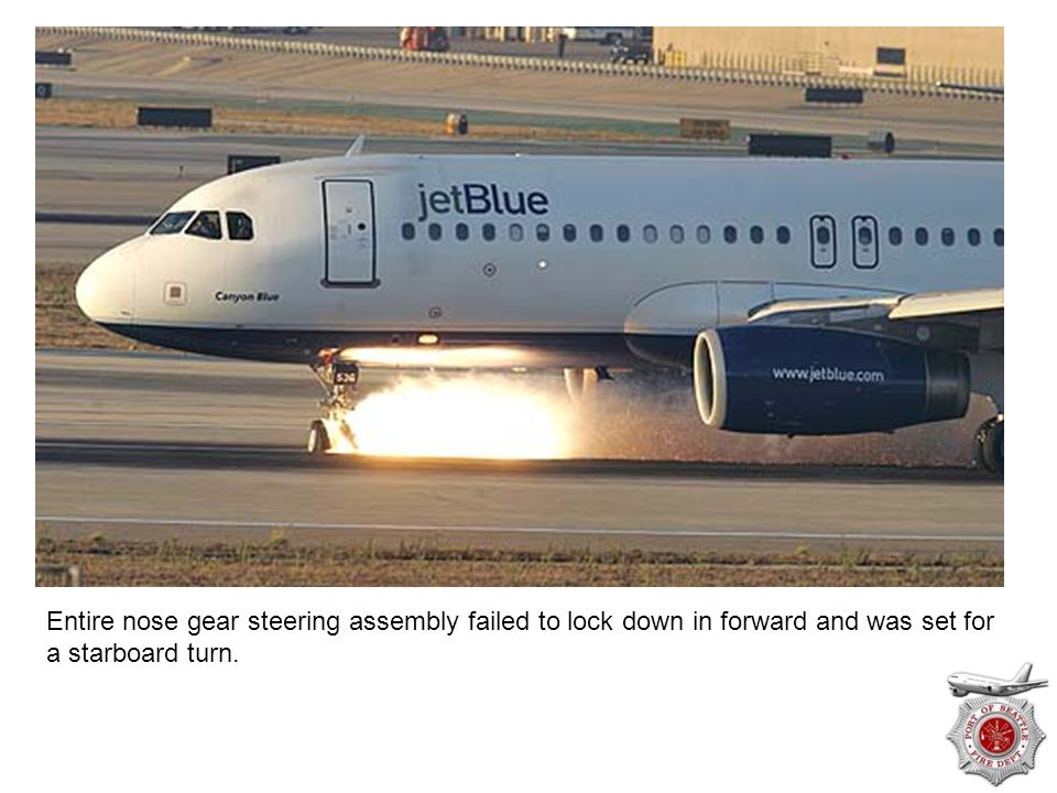 Entire nose gear steering assembly failed to lock down in forward and was set for a starboard turn.