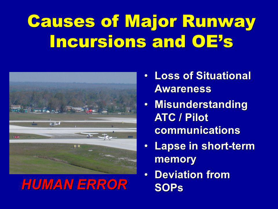 Causes of Major Runway Incursions and OE's