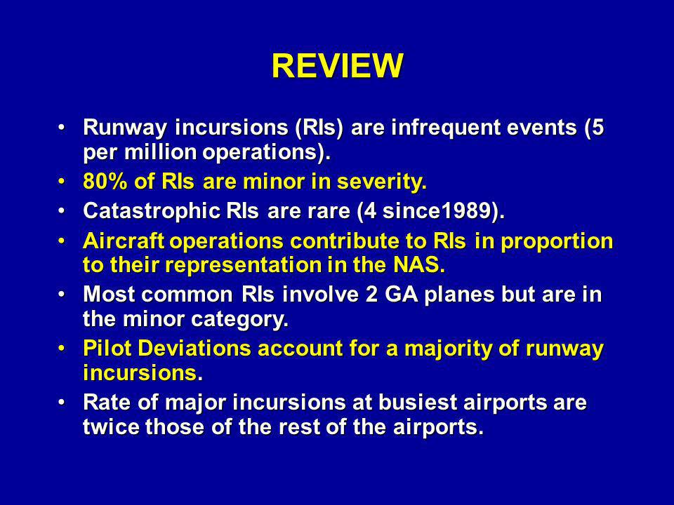 REVIEW Runway incursions (RIs) are infrequent events (5 per million operations). 80% of RIs are minor in severity.