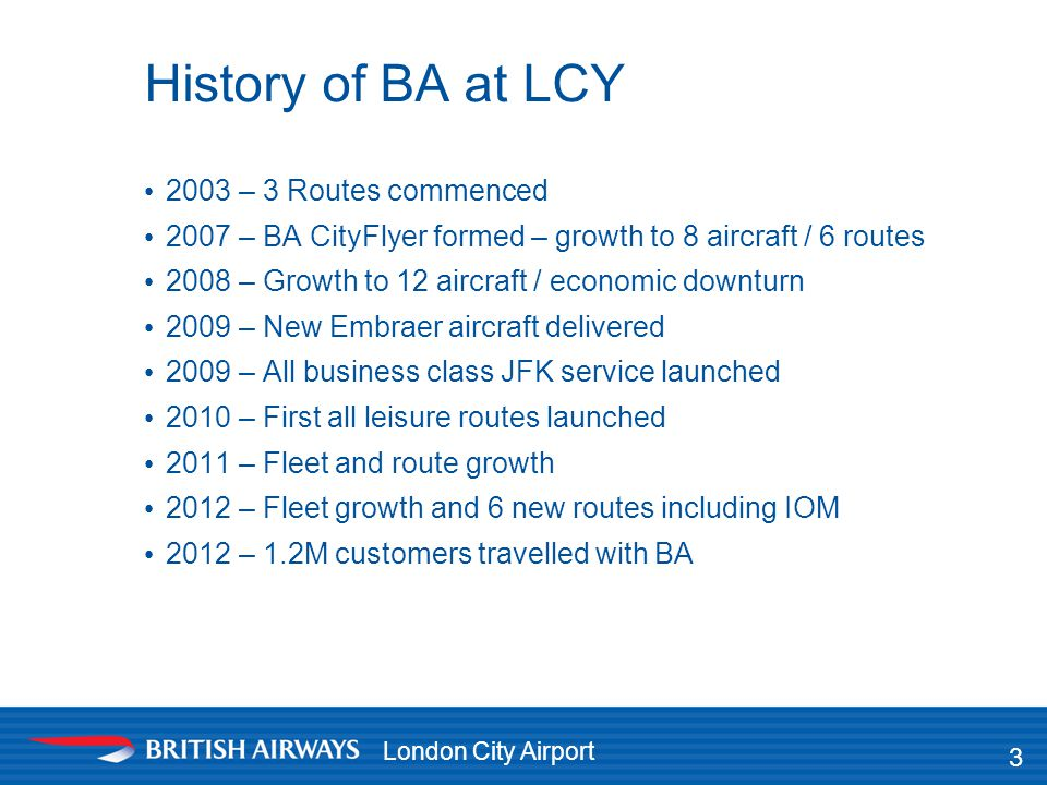 History of BA at LCY 2003 – 3 Routes commenced