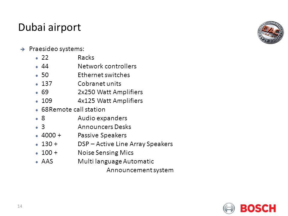 Dubai airport Bosch Praesideo at Airports Praesideo systems: 22 Racks