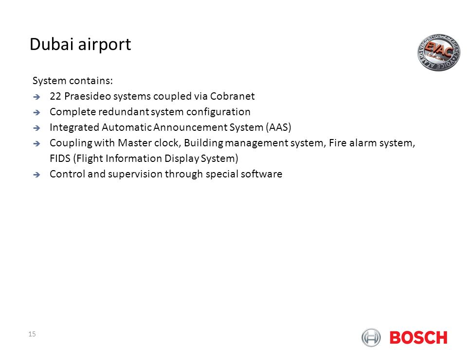 Dubai airport Bosch Praesideo at Airports System contains: