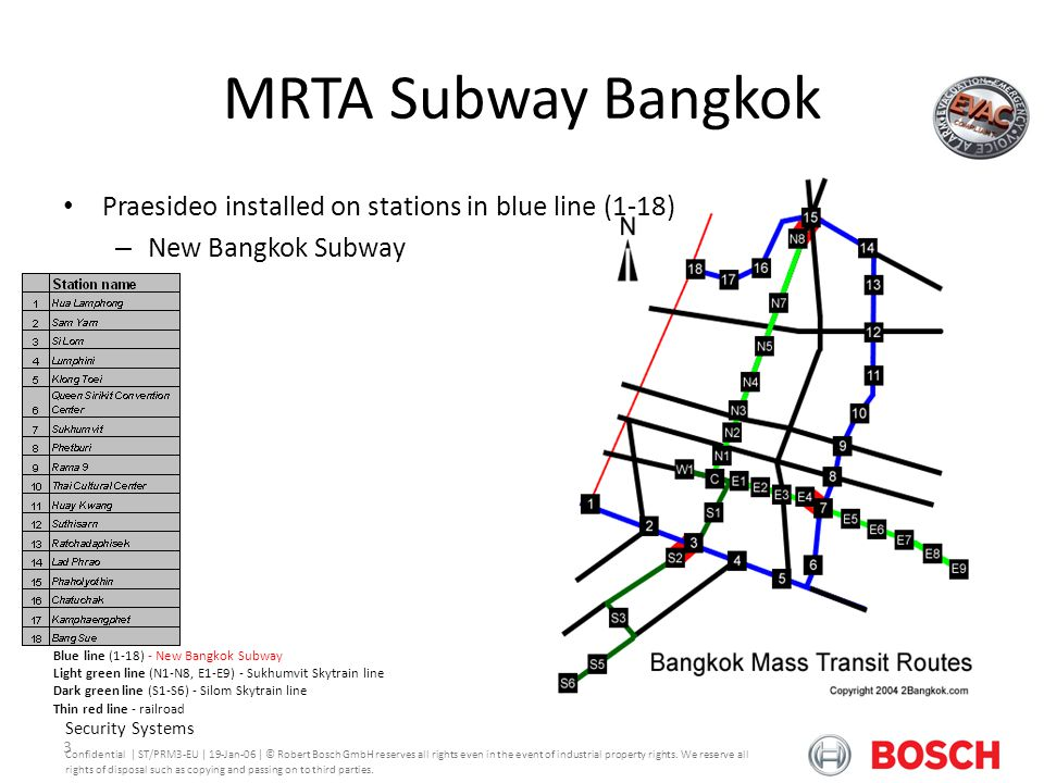 Praesideo Version 3.0 MRTA Subway Bangkok. Praesideo installed on stations in blue line (1-18) New Bangkok Subway.