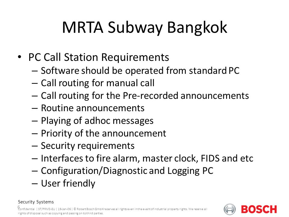 MRTA Subway Bangkok PC Call Station Requirements