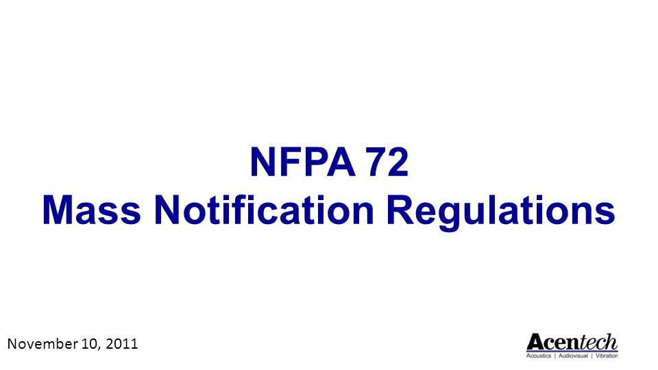 NFPA 72 Mass Notification Regulations