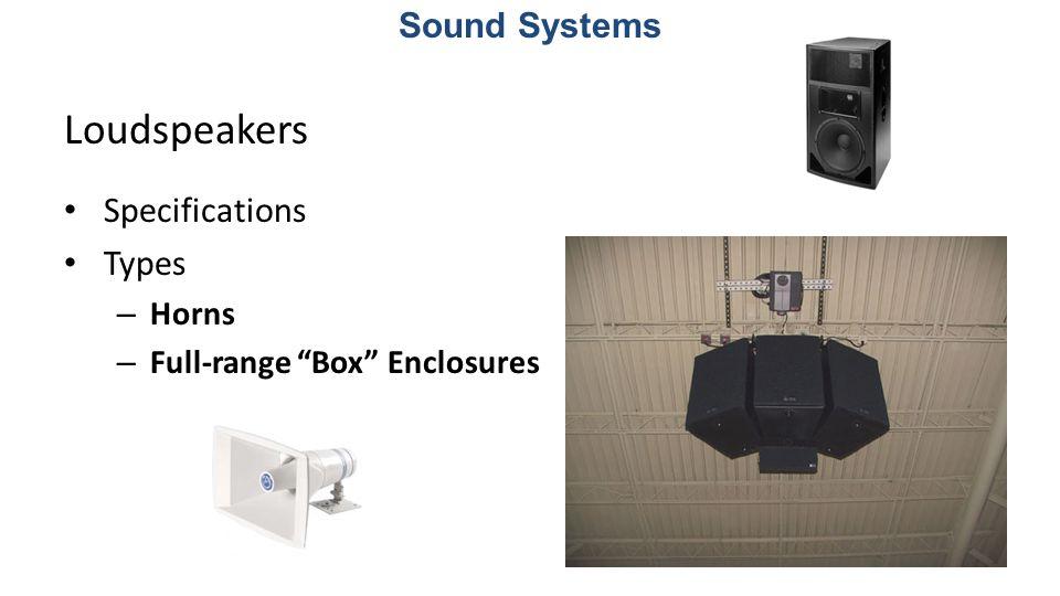 Loudspeakers Specifications Types Loudspeakers specifications: