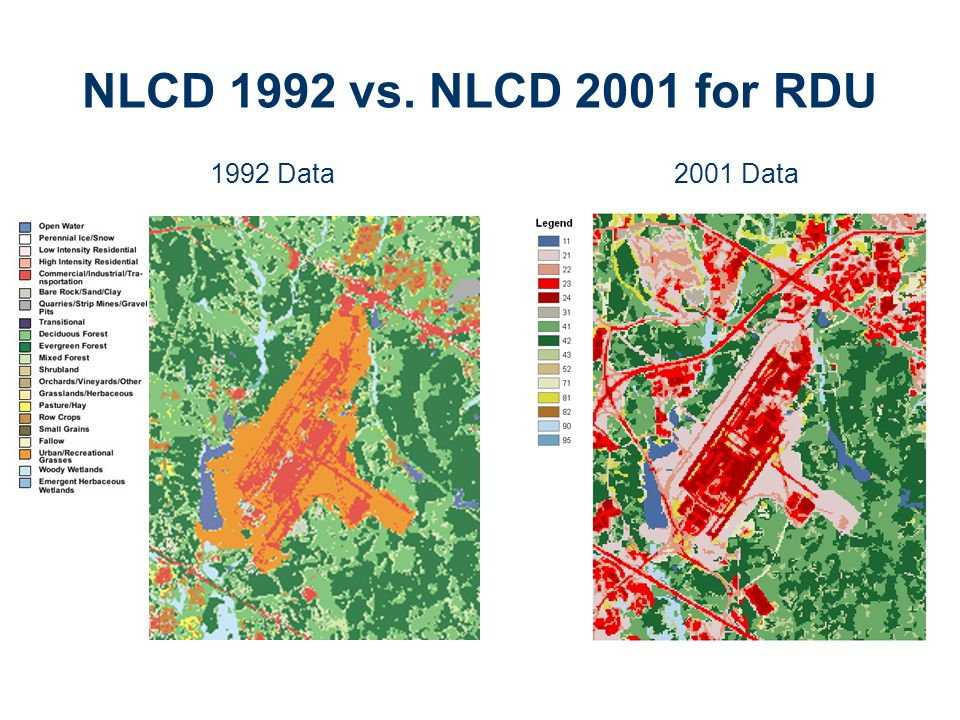 NLCD 1992 vs. NLCD 2001 for RDU 1992 Data 2001 Data