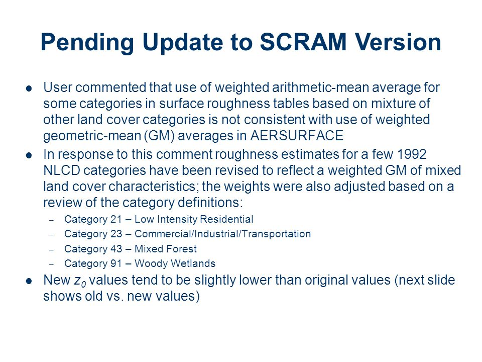 Pending Update to SCRAM Version