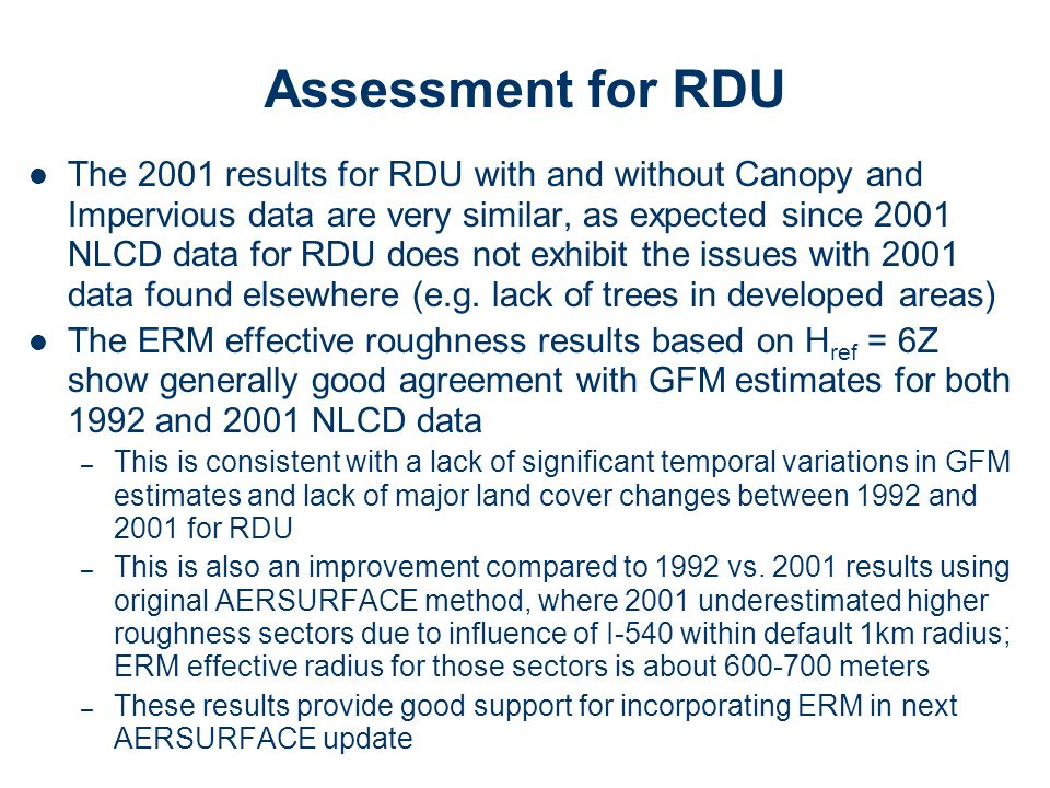 Assessment for RDU