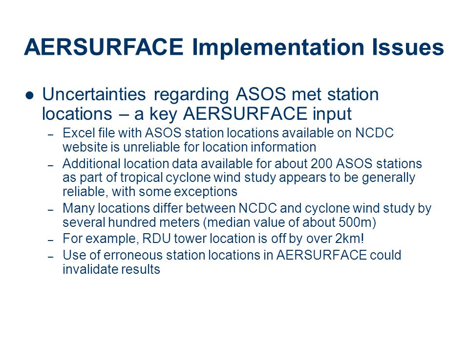 AERSURFACE Implementation Issues