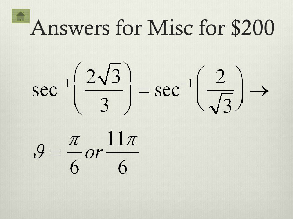 Answers for Misc for $200