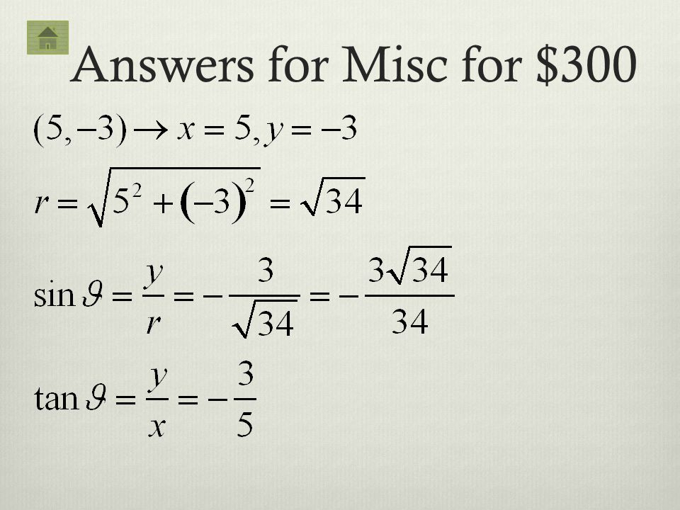 Answers for Misc for $300