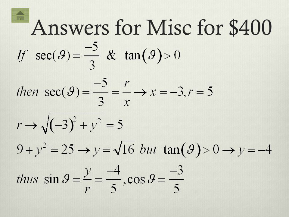 Answers for Misc for $400
