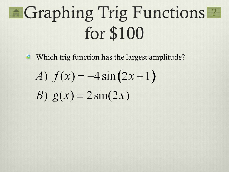 Graphing Trig Functions for $100