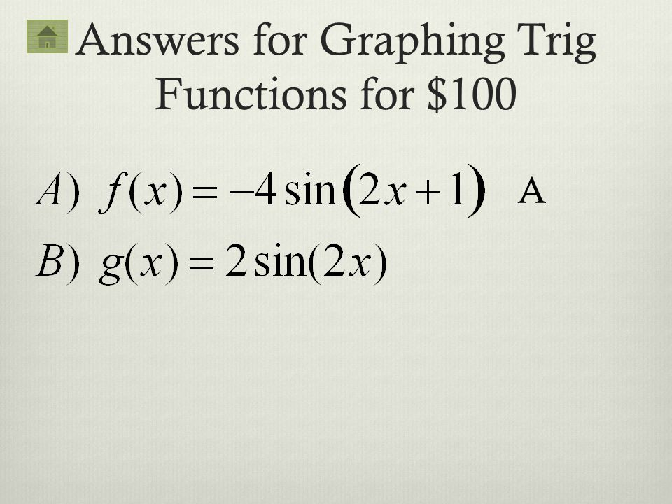 Answers for Graphing Trig Functions for $100