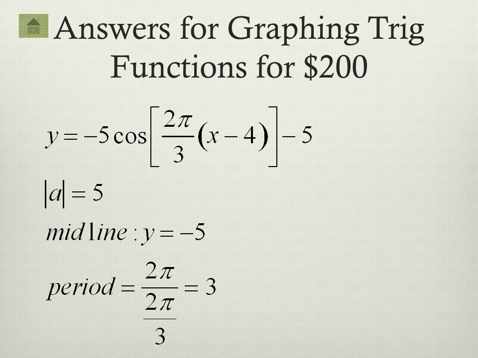 Answers for Graphing Trig Functions for $200