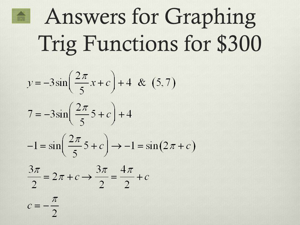 Answers for Graphing Trig Functions for $300