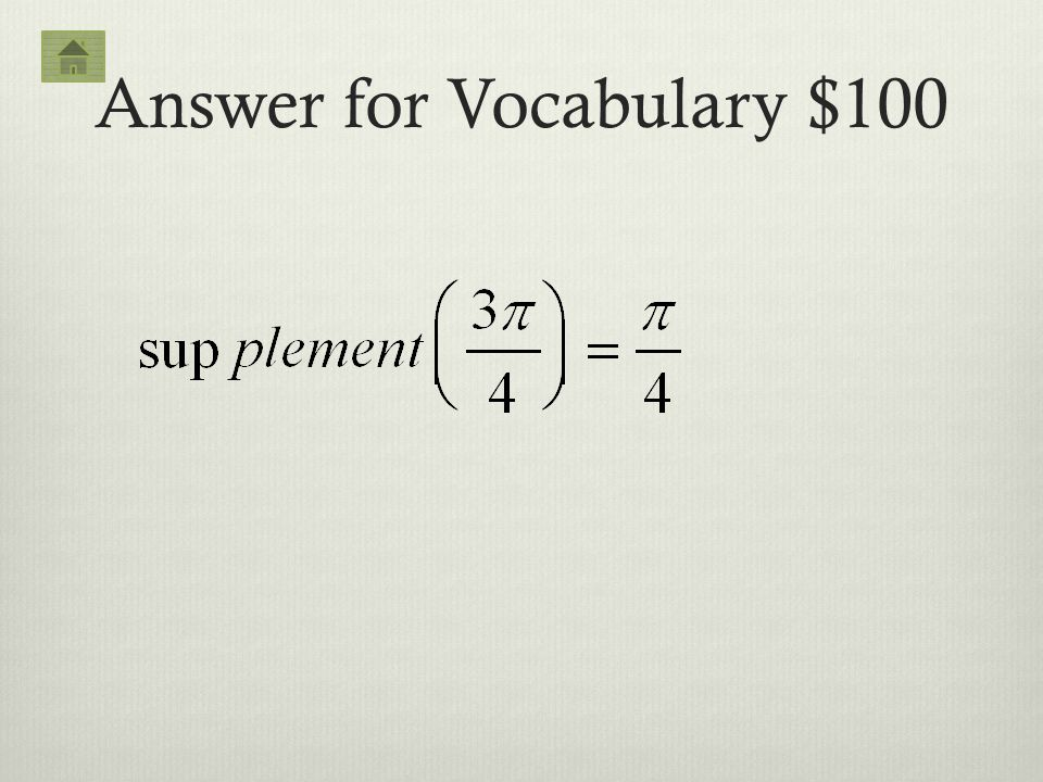 Answer for Vocabulary $100