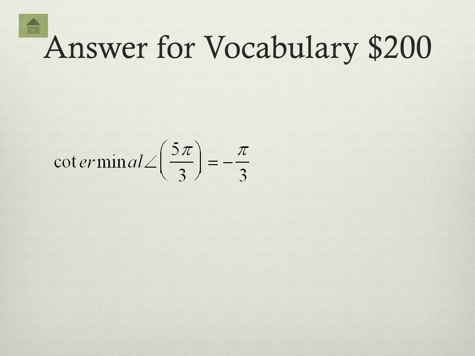 Answer for Vocabulary $200