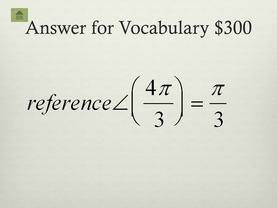 Answer for Vocabulary $300