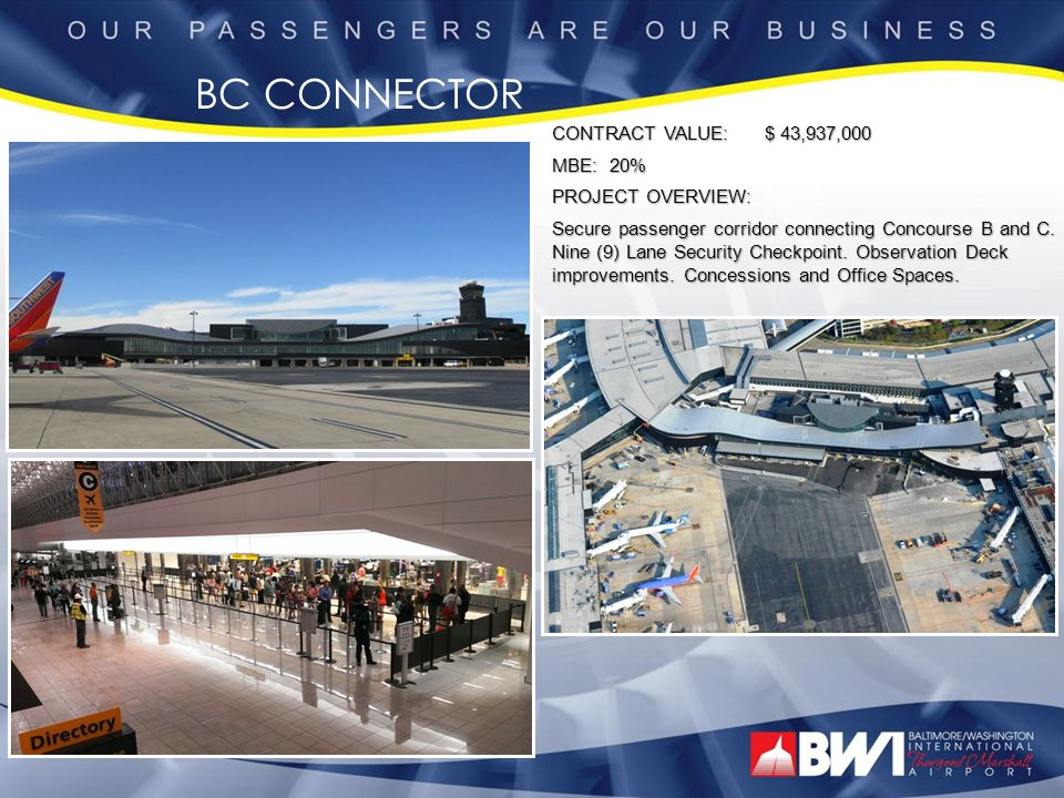 BC CONNECTOR CONTRACT VALUE: $ 43,937,000 MBE: 20% PROJECT OVERVIEW: