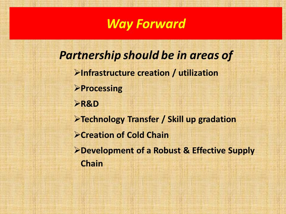 Way Forward Partnership should be in areas of