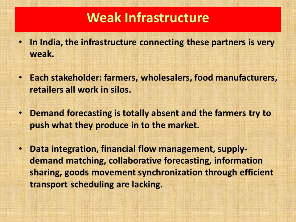 Weak Infrastructure In India, the infrastructure connecting these partners is very weak.