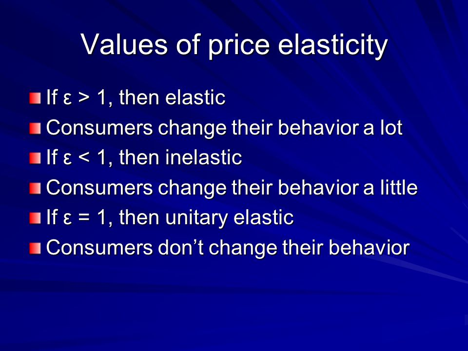 Values of price elasticity