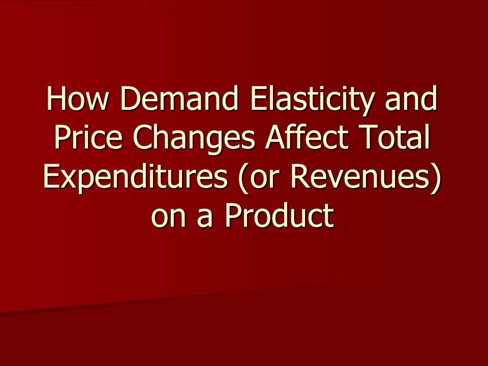 How Demand Elasticity and Price Changes Affect Total Expenditures (or Revenues) on a Product