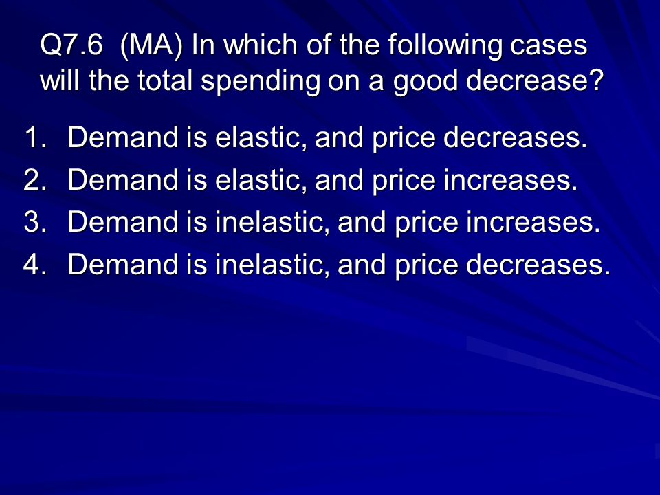 Q7.6 (MA) In which of the following cases will the total spending on a good decrease