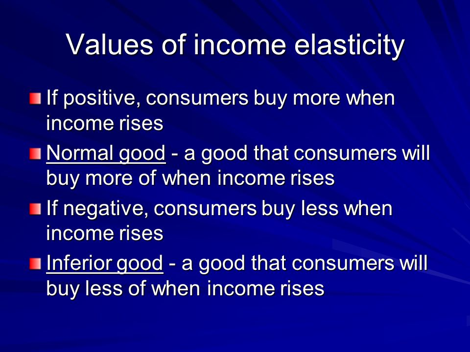 Values of income elasticity