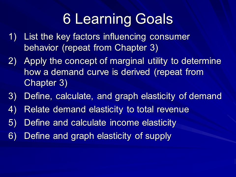 6 Learning Goals List the key factors influencing consumer behavior (repeat from Chapter 3)