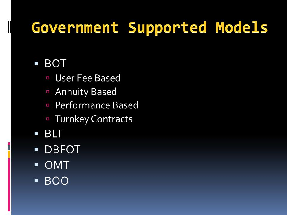 Government Supported Models