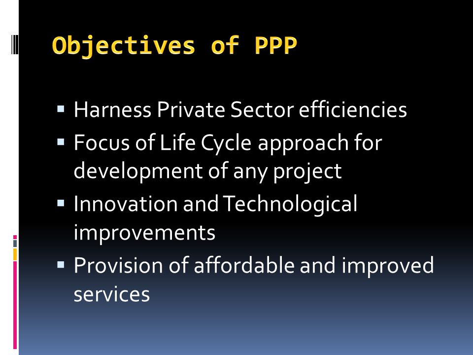 Objectives of PPP Harness Private Sector efficiencies