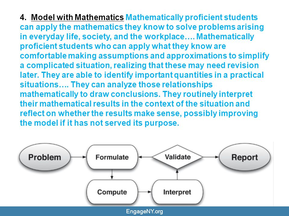 4. Model with Mathematics Mathematically proficient students can apply the mathematics they know to solve problems arising in everyday life, society, and the workplace…. Mathematically proficient students who can apply what they know are comfortable making assumptions and approximations to simplify a complicated situation, realizing that these may need revision later. They are able to identify important quantities in a practical situations…. They can analyze those relationships mathematically to draw conclusions. They routinely interpret their mathematical results in the context of the situation and reflect on whether the results make sense, possibly improving the model if it has not served its purpose.