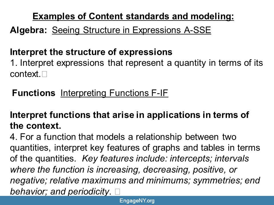 Examples of Content standards and modeling: