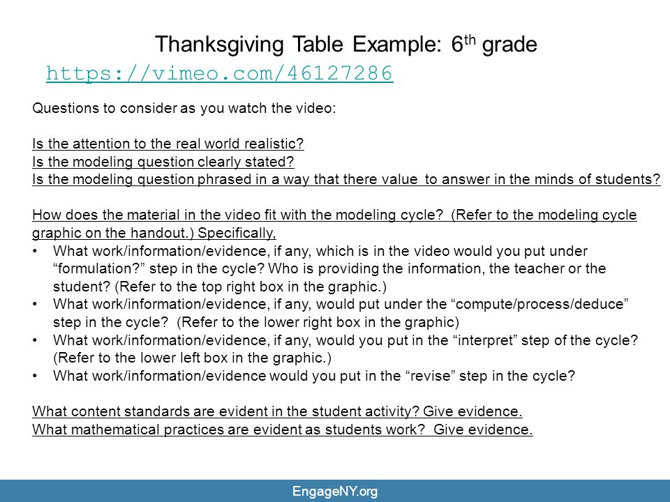 Thanksgiving Table Example: 6th grade