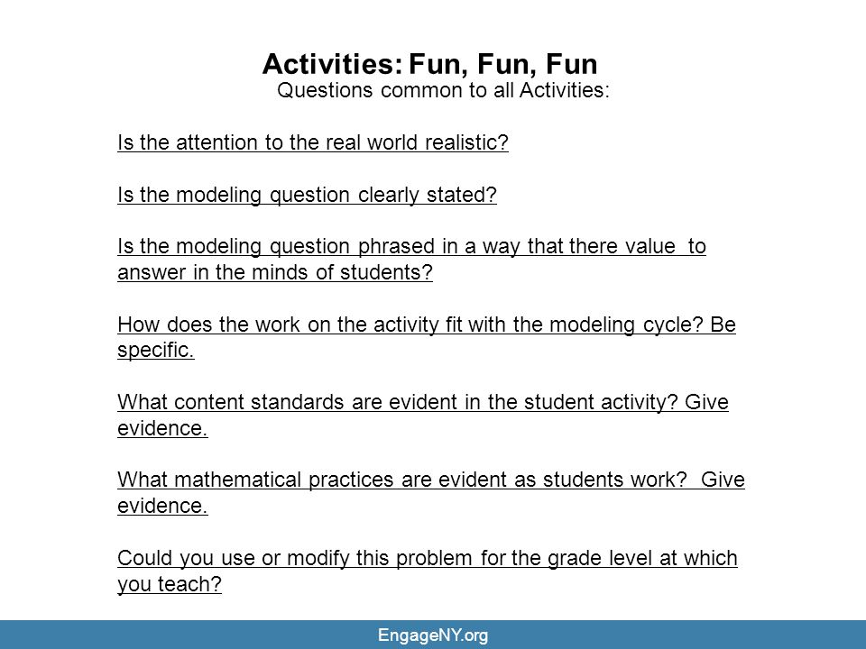 Activities: Fun, Fun, Fun