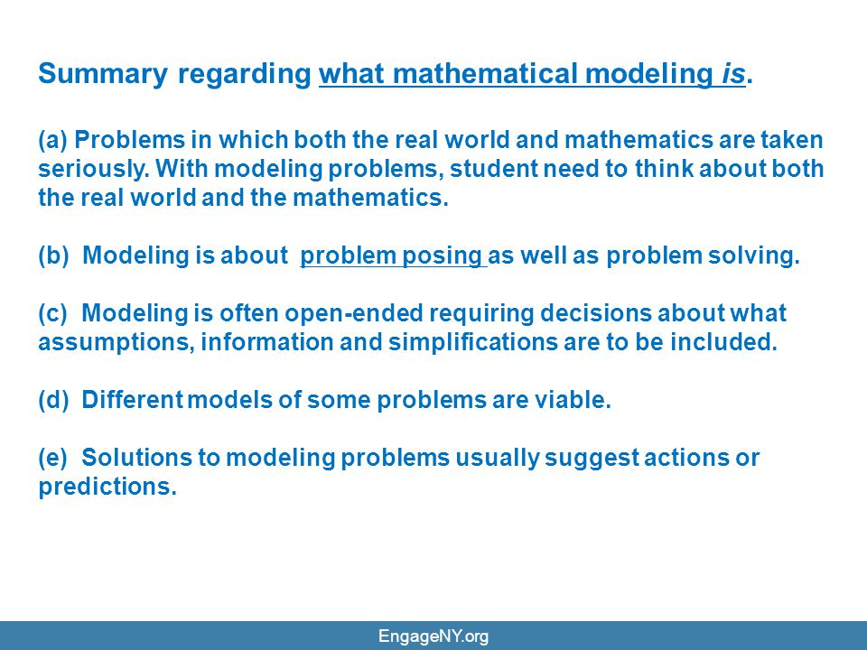 Summary regarding what mathematical modeling is.
