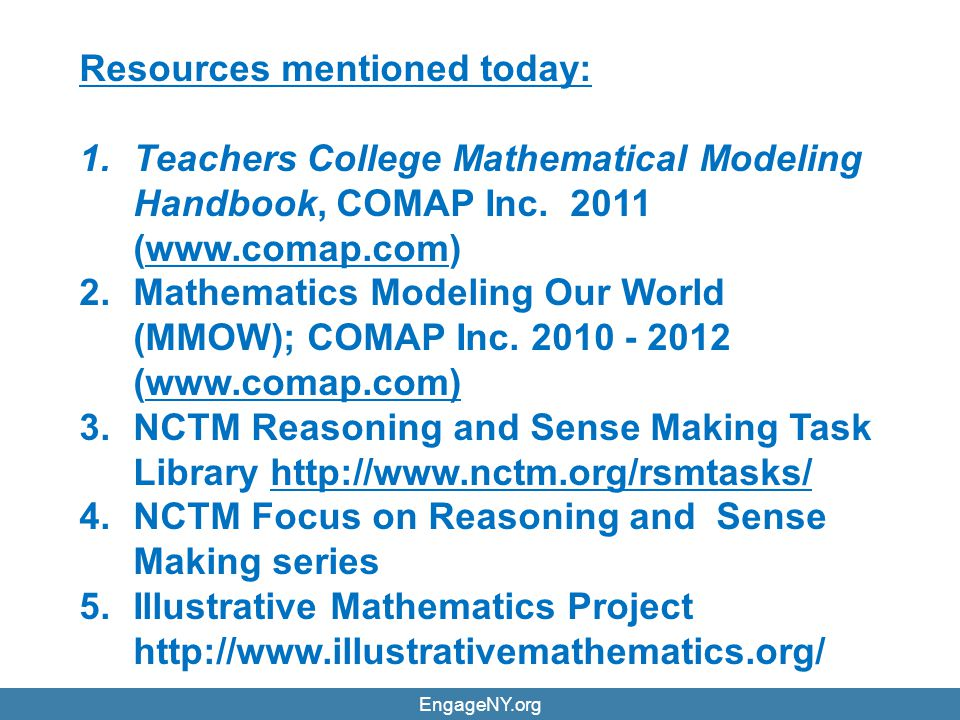 Resources mentioned today: