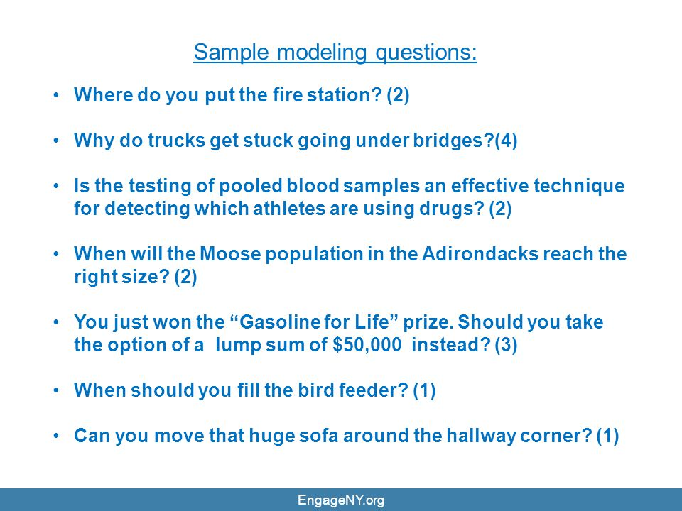 Sample modeling questions:
