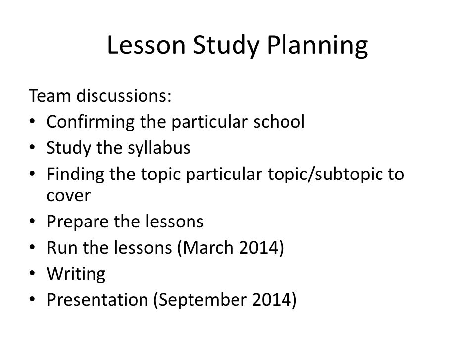 Lesson Study Planning Team discussions: